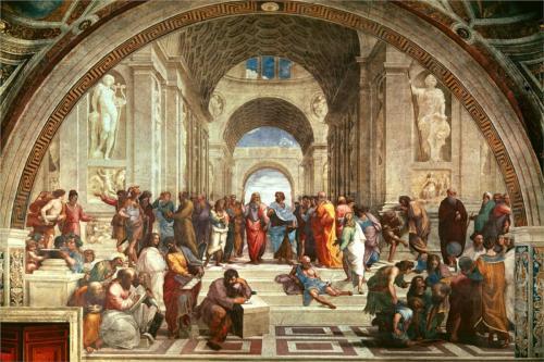"""مدرسة أثينا - لوحة للفنّان الإيطالي """"رافائيل"""""""